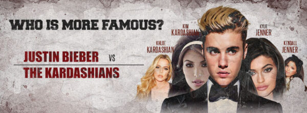 Who is more famous, Justin Bieber of the Kardashians?