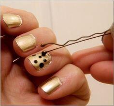 Gold and Black Polka Dot Nails